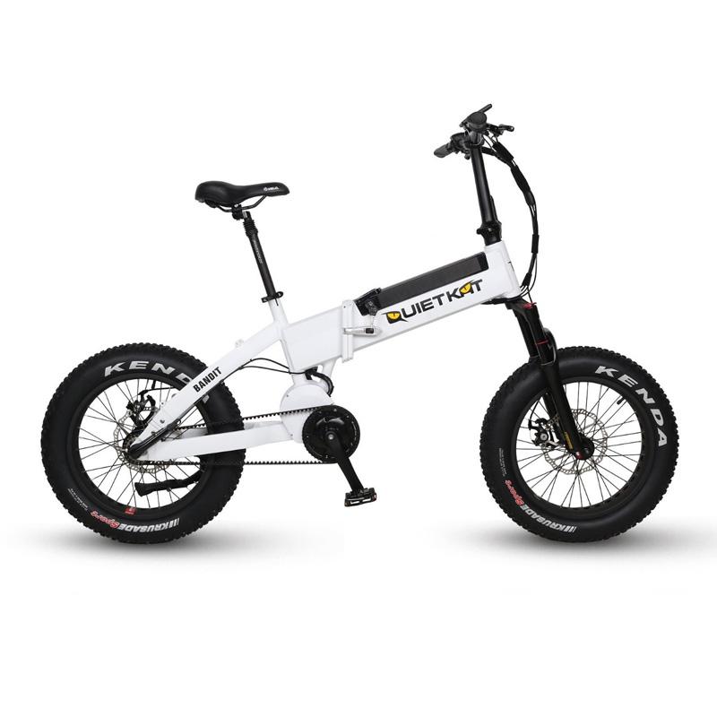 QuietKat FatKat Bandit Folding Electric Fat Tire Bicycle - QKF750 - White