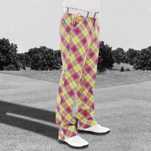 Royal & Awesome Mens Golf Pants - Plaid Awesome Tartan Image