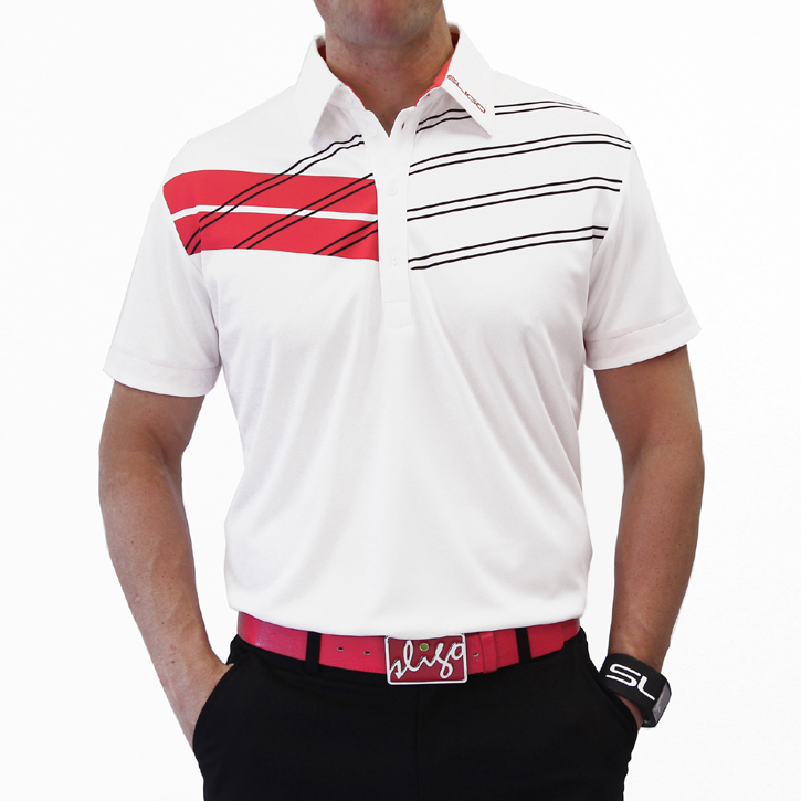 Sligo Maddox Golf Shirt - White/Electric Coral