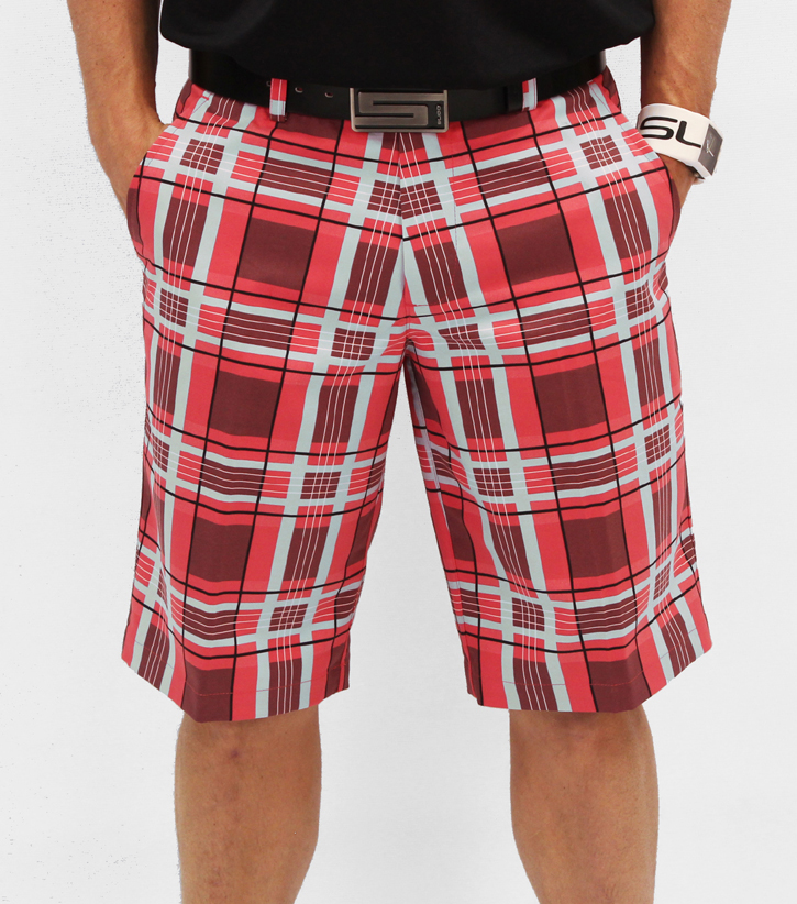 Image of Sligo Plaid Golf Shorts - Electric Coral