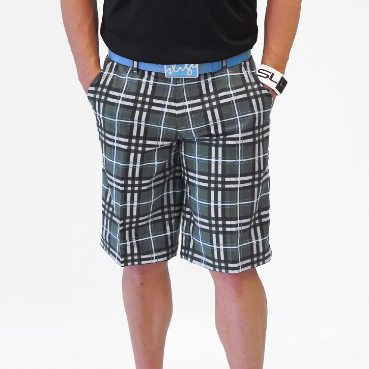 Sligo Plaid Golf Shorts - Steel