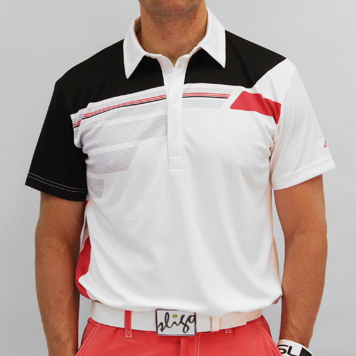 Sligo Robinson Golf Shirt - White/Electric Coral