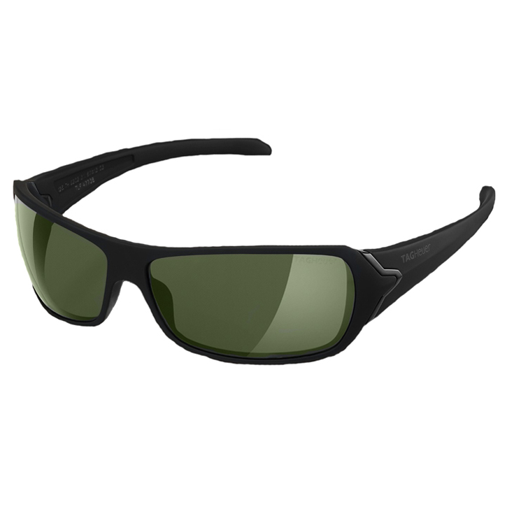 Tag Heuer Racer Sunglasses - Shiny Black Frame/Green Outdoor Lens