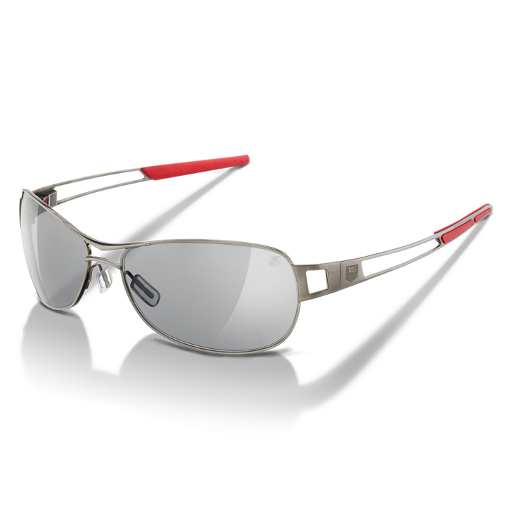 Tag Heuer Speedway Sunglasses - Red Tip/Dark Frame/Grey Outdoor Lens