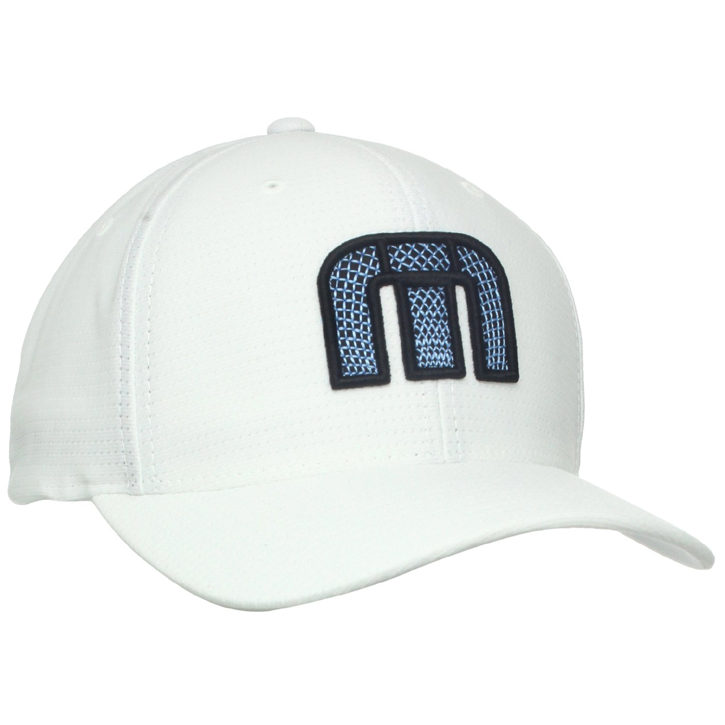 TravisMathew Fitzjohn Golf Cap. Show off the stars and stripes with a little golf twist in the TravisMathew Men's Fitzjohn Golf Hat. The Fitzjohn features an American Flag crafted with golf clubs on the front panels, which offers you a perfect look for the links.