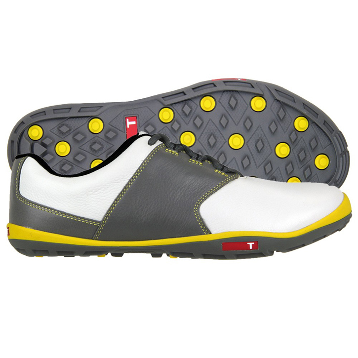True Linkswear True Tour Golf Shoes - White/Yellow/Charcoal