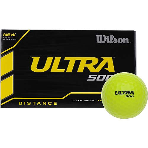 Wilson Ultra 500 Distance Golf Balls - Yellow (15 Ball Pack)