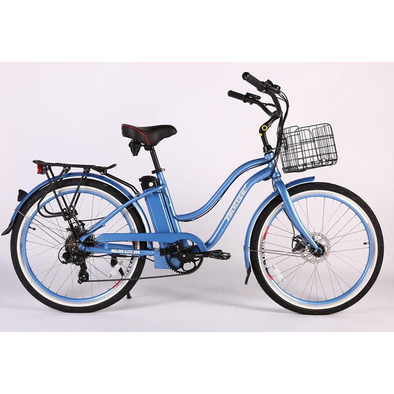 X-Treme E-Bike Malibu Elite Max 36V Step-Thru Electric Bicycle - Baby Blue