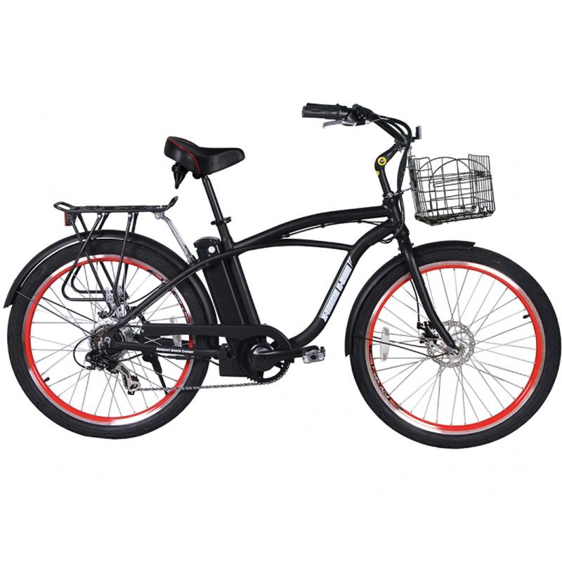 X-Treme E-Bike Newport Elite Electric Beach Cruiser Bicycle - Black