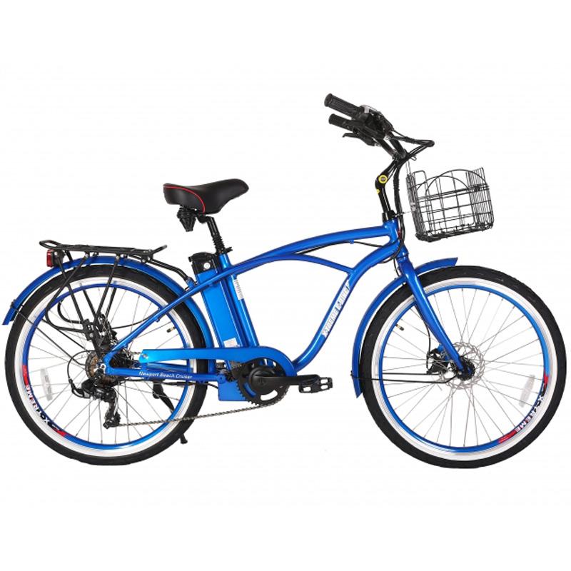 X-Treme E-Bike Newport Elite Electric Beach Cruiser Bicycle - Blue