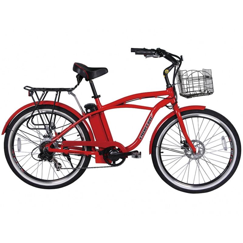 X-Treme E-Bike Newport Elite Electric Beach Cruiser Bicycle - Red