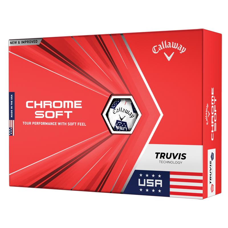2020 Callaway Chrome Soft Golf Balls (1 Dozen) - TRUVIS - Limited Edition USA Stars & Stripes