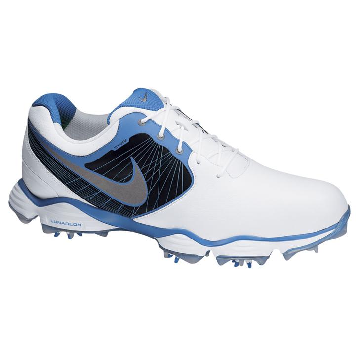 491b9db837e4 Nike Lunar Control II Golf Shoes - Mens White Silver Blue at  InTheHoleGolf.com