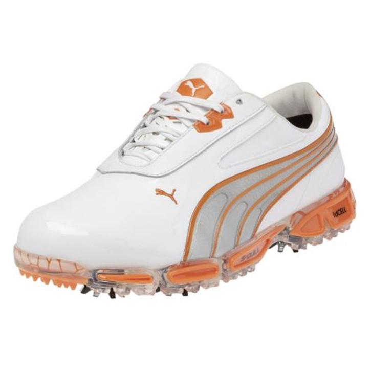 économiser 1dd9d a65f0 Puma Amp Cell Fusion Golf Shoes - Mens White/Orange at ...
