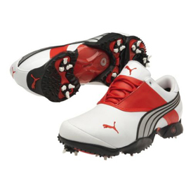 0e2452645d32 Puma Jigg Golf Shoes - Mens White Fiery Red Silver at InTheHoleGolf.com